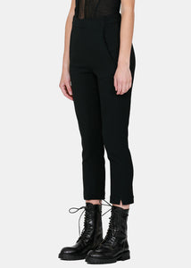 Black Straight-Leg Rayon Pants