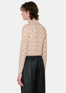 Tan Moon Monogram Turtleneck T-Shirt
