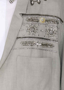 Grey Embroidered Crystal Blazer