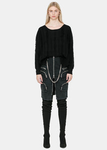 Black Deep Round Neck Sweater