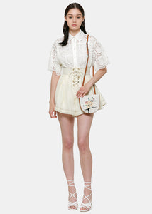 Ivory Corsage Lace-Up Shorts