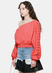 Red Asymmetric Lace-Up Sweatshirt