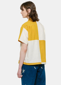 Off-White & Yellow Shorty Patchwork Shirt
