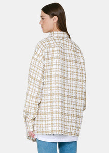 White & Gold Tweed Oversized Shirt