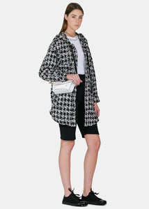 Black & White Tweed Hooded Shirt