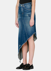 Blue Asymmetric Denim Skirt