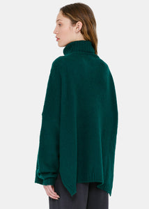 Green Turtleneck Cashmere Sweater