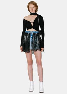 Blue & Black Denim Reversed Lace Miniskirt