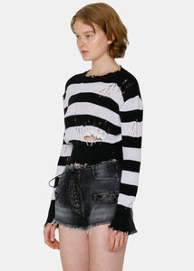 Black & White Stripe Distressed Sweater