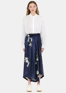 Navy Floral Wrap Trousers