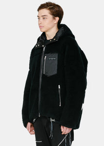 Black Reversible Wool Hooded Jacket