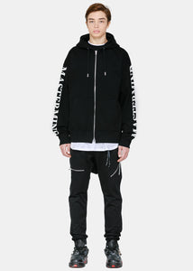 Black Back Logo Zip-Up Hoodie