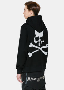 Black Embroidered Beaded Logo Hoodie