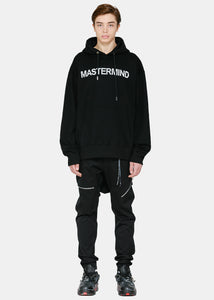 Black Embroidered Beaded Oversized Logo Hoodie