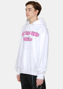 White & Multicolor Pullover Hoodie