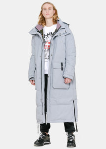 Grey Double-Layer Long Down Coat