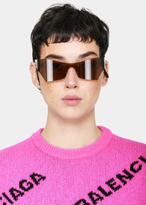 Brown Cat-Eye Mask Sunglasses