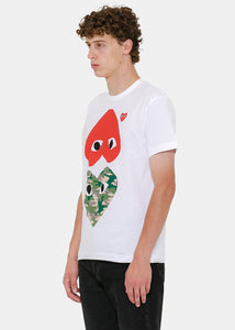 White & Red Como Upside Down Hearts T-Shirt