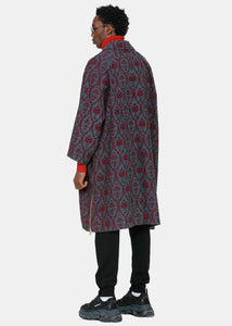 Burgundy Valentino Edition Embroidered Coat