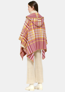 Pink Check Hooded Poncho