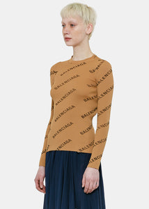 Beige Ribbed Logo Sweater