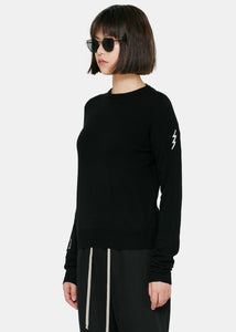 Black Knit Crewneck Sweater