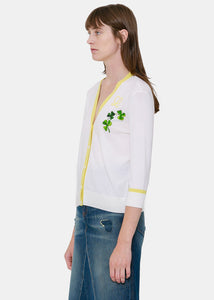 Off White Shamrock Embroidered Cardigan