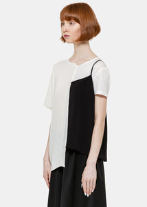 Black & White Half Slip T-Shirt