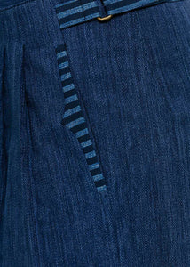 Blue Double Pleated Pants