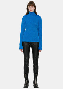 Metallic Blue Turtleneck Sweater
