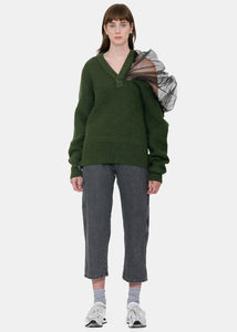 Olive Asymmetric Sweater