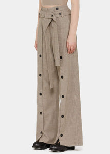 Beige Houndstooth Wide-Leg Trousers