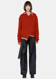 Red Asymmetrical Wool Sweater