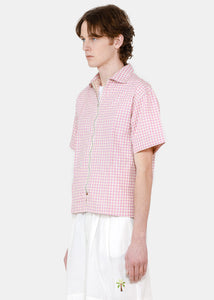 Pink Plaid Beach Shirt