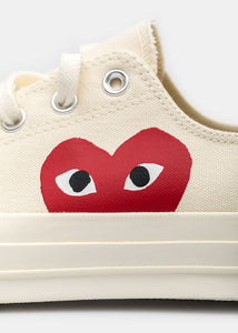 Ivory Converse Red Heart Chuck 70 Sneakers