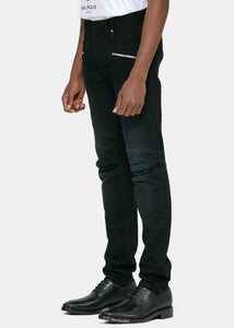 Black Monogram Tapered Jeans