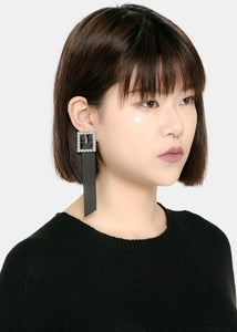 Black Strass Buckle Earring