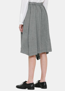 Natural & Black Asymmetric Houndstooth Skirt