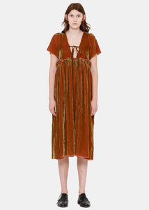 Brown Dyed Velvet Dress