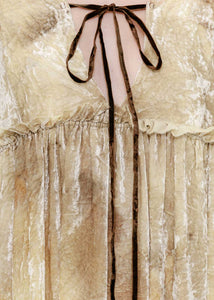 Beige Dyed Velvet Dress
