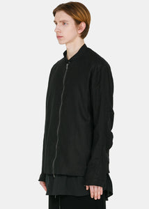 Black Linen Zip Jacket
