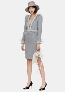 Grey Ostrich Feather Tweed Dress