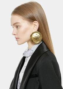 Gold Brass Shield Earrings
