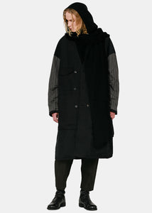 Black & Grey Panelled Coat