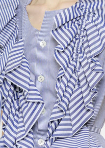 Blue & White Stripe Ruffle Top