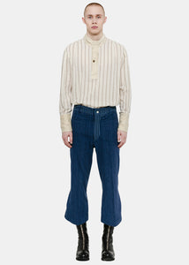 Blue Striped Pleated Pants