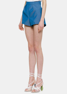 Blue Pleated Shorts