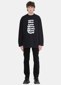 Black Print Cotton Sweatshirt