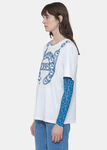 White Logo Chain Print T-Shirt
