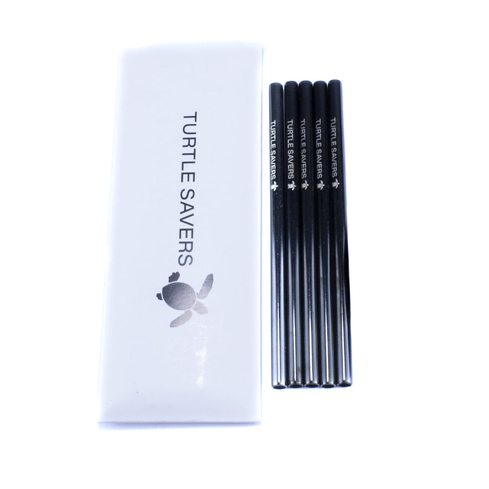 Five pack of metal cocktail straws on a white background.